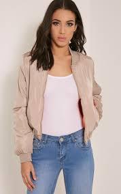 prettylittlething womens bomber jacket ladies trinia beige arm zip