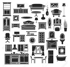 möbel artikel icons set schlafzimmer wohnzimmer möbel badezimmer objekte home office möbel küche