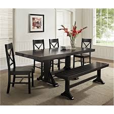 Marvelous Dining Room Black Table Bench Best Gallery Of Tables Good Looking Reface