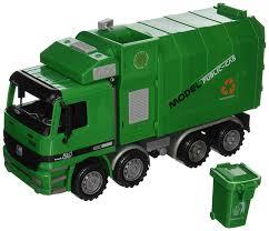 Amazon.com: City Service Vehicle Green Side Loading Garbage Truck ...