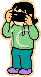 Royalty Free Clip Art Image Little Girl Using Her New Camera to Take a graph