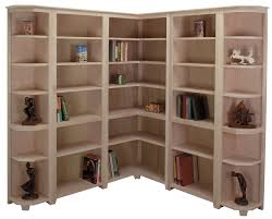 interior corner beige modern stained solid wood standard bookcase