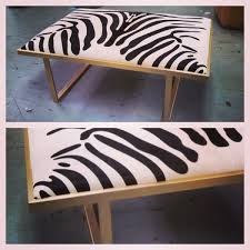Taylor Burke Home Kelly Brass Coffee Table In Zebra Print Cowhide
