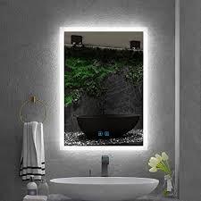 quavikey led badspiegel 50x70cm b h badezimmer spiegel aluminium mit beleuchtung lichtspiegel wandspiegel antibeschlag touch schalter helligkeit