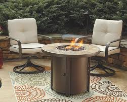 Ashley Furniture Signature Design - Predmore Outdoor Patio Fire Pit ... Hanover Summer Nights 5piece Patio Fire Pit Cversation Set With Amazoncom Summrnght5pc Zoranne 4 Chairs Livingroom Table With Outdoor Gas And Tables Sets Fniture Fresh Ding Shop Monaco 7piece Highding 6 Swivel Rockers And A The Greatroom Company Kenwood Linear Height Alinum Cheap Chair Beautiful Comet 8 Wicker Chat Tank Awesome Top 10 Envelor Oval Brown 7 Piece Poker Stunning