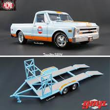 Acme / Gmp 1968 Gulf Racing C 10 Truck & Tandem Car Trailer Diecast ... 1956 Ford F100 Pickup Truck 124 Scale American Classic Diecast World Famous Toys Diecast Trucks F150 F 1953 Car Package Two 143 Scale 2016f250dhs Colctables Inc New 1940 Black 125 Model By First Chevrolet Chevy 2017 Dodge Ram 1500 Mopar Offroad Edition Hobby 1992 454 Ss Off Road Danbury Mint For 1973 Ranger Red White 118
