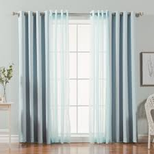 Blue Crushed Voile Curtains by Quality Home Crushed Voile Sheer U0026 Solid Blackout Curtains 4pcs