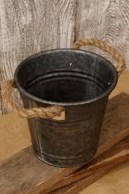 Dark Galvanized Buckets Made Of Metal With String Handle For Wedding Flower Bucket Ideas