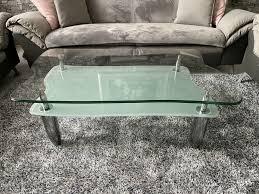 wohnzimmertisch glas couchtisch silber grau 120