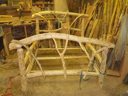 FurniturePine Log Wood Bed Frame With Unifinished Style Also Simple Head And Footboard Natural