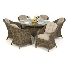 Maze Rattan Winchester Round Dining Table With 6 Round Chairs Garden  Furniture Set
