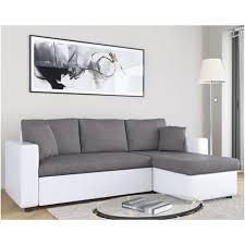 canapé gris et blanc pas cher canapé d angle convertible et réversible mathilde 3 places simili