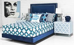 Navy Velvet Tufted Platform Bed