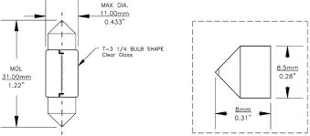 de 3175 12v 10w 10x31mm festoon replacement light bulb