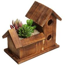 Small Rustic Style Bird House Design Brown Wood