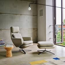 vitra grand relax sessel ottoman aluminium poliert leder premium cognac filzgleiter