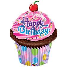Happy Birthday Shaped Cupcake Balloon