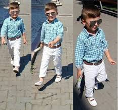 ST154 New Fashion Boys Clothes Set Kids Loose Fitting Cotton Plaid Shirt Pants Belt 3