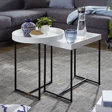 satztisch 2er set weiß holz metall beistelltische tabletttisch 2 teilig tische für wohnzimmer weiß wohnling