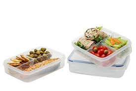 Komax Biokips Food Storage Lunch Boxes Set Of 3 Divided Plastic Container With Removable
