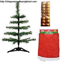 Amazon Com Desktop Mini Christmas Tree With Red Skirt And 16