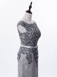 mermaid scoop sweep train lace grey long prom dress with appliques