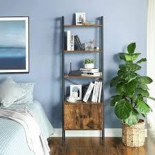 vasagle standregal leiterregal bücherregal mit schrank wohnzimmerregal 4 ablagen stabiles eisengestell schlafzimmer büro 56 x 34 x 173 cm
