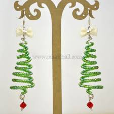 Wire Christmas Tree Earrings With Seed Beads 1
