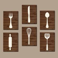 Wall Art Ideas Design Best Kitchen Wooden Utensil Products Cooking Decoration White Material Brown Background Spoon Canvas Hanging Top