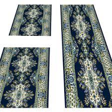 details zu läufer teppich schlafzimmer bettumrandung läuferset 3 teilig orientalisch blau
