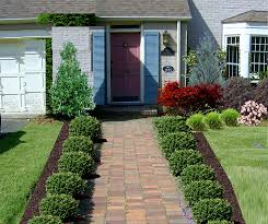 Outstanding Green Rectangle Rustic Stone Front Yard Landscaping Plants Decorative Floor And Trees Backyard Charming Ideas