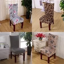 Chair Covers Soft Spandex Fit Stretch Short Dining Room With Printed Pattern Banquet