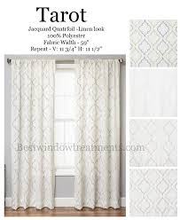 108 Inch Long Blackout Curtains by Tarot Curtain Panel In A Quatrefoil Design Available In 4 Colors