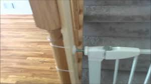 Install Safety Gate On Banister Of Staircase - YouTube Baby Gate For Stairs With Banister Ipirations Best Gates How To Install On Stairway Railing Banisters Without Model Staircase Ideas Bottom Of House Exterior And Interior Keep A Diy Chris Loves Julia Baby Gates For Top Of Stairs With Banisters Carkajanscom Top Latest Door Stair Design Wooden Rs Floral The Retractable Gate Regalo 2642 Or Walls Cardinal Special Child Safety Walmartcom Designs