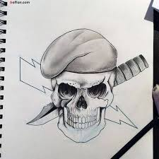 Grey Ink Simple Army Skull And Dagger Tattoo Design