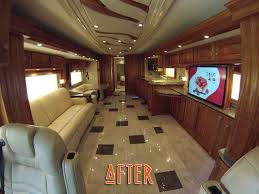 2007 Country Coach Intrigue Interior After Radiant Heated Tile Flooring With Matching Backsplash Custom