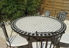 table ronde mosaique fer forge table jardin mosaique ronde 150cm blanc losange ardoise table