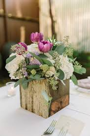 Purple White And Green Rustic Wedding Centerpiece In A Wooden Box