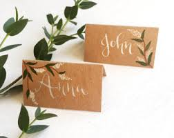 Custom Hand Written Calligraphy Wedding Place Cards Rustic Kraft Style Name