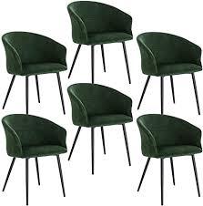 elightry esszimmerstuhl küchenstuhl samt stuhl sessel mit armlehnen metallbeinen 6er set esszimmerstühle für esszimmer wohnzimmer dunkelgrün