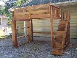 loft bed with stairs and bookcase by nate22 lumberjocks com