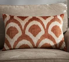 carmelia printed velvet pillow cover pottery barn