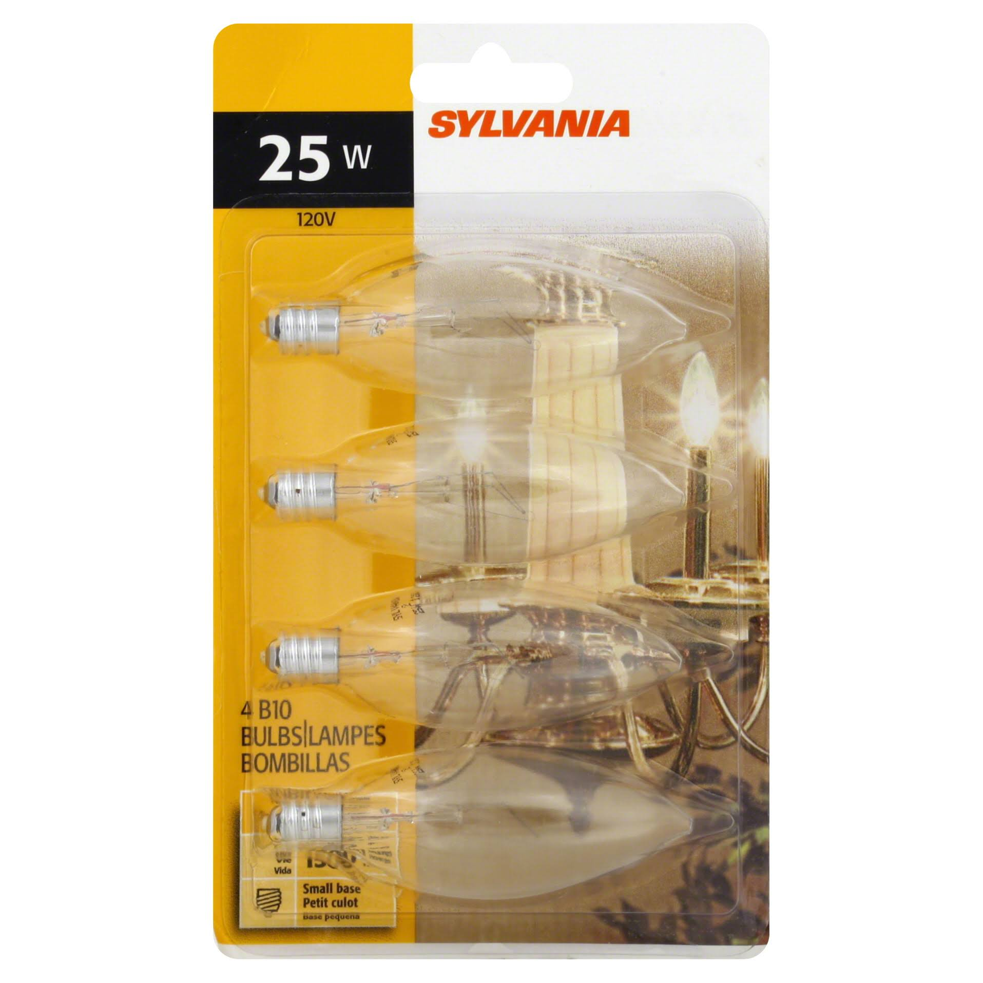 Sylvania B10 Light Bulbs, B10, Clear, 25 W - 4 bulbs