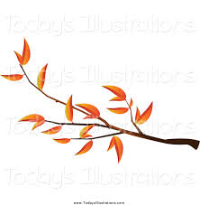 Clipart of an Autumn Tree Branch