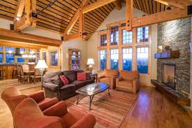 Brasada Ranch Home Living Room With Dining And Kitchen Open Floor Plan Rustic