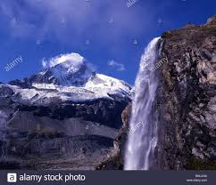 Matterhorn Waterfall Scenery Landscape Mountains Rock Cliff Snow Canton Valais Switzerland Europe