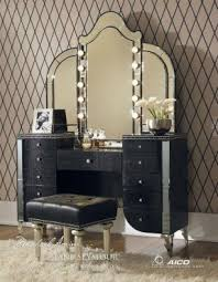 black vanity table with mirror foter