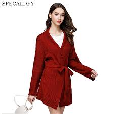 popular women long belted knit sweater coat buy cheap women long
