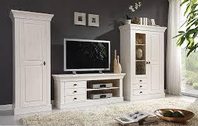 massivholz wohnwand weiß lasiert kiefer anbauwand wohnzimmermöbel