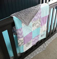 Etsy Baby Bedding by Custom Baby Bedding Aqua Purple And Grey By Gigglesixbaby On Etsy